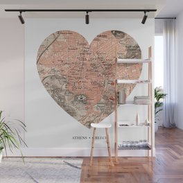 Athens heart map Wall Mural