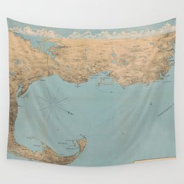 Vintage Map of Provincetown to Boston MA (1879) Wall Tapestry
