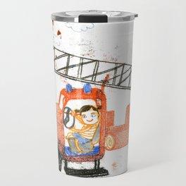 Girl in a firemen´ s truck Travel Mug