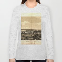 Vintage Pictorial Map of Hamilton Ontario (1859) Long Sleeve T-shirt