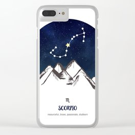 Astrology Scorpio Zodiac Horoscope Constellation Star Sign Watercolor Poster Wall Art Clear iPhone Case