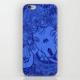 Ganesha Lineart Blue iPhone Skin