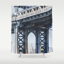 Manhattan Bridge Empire Blue Shower Curtain