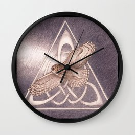 Great Horned Owl Over Celtic Triskeles Wall Clock