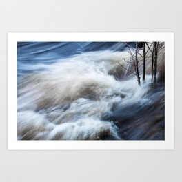Rapids and tree branches Art Print