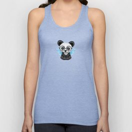 Cute Panda Cub with Fairy Wings and Glasses Blue Unisex Tank Top