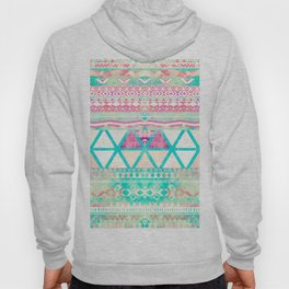 Pink Teal Aztec Pattern Triangles Girly Watercolor Hoody