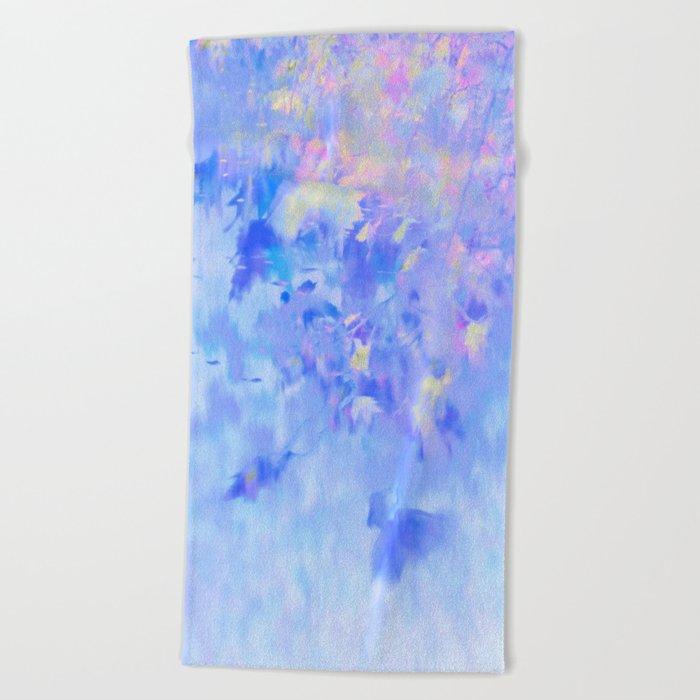 Blue Leaves under a Lavender Sky Beach Towel