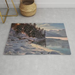 Winter Sunrise Lakeside in the Mountains by Ivan Fedorovich Choultsé Rug