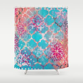 Mixed Media Layered Patterns - Turquoise, Pink & Coral Shower Curtain