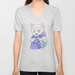 Autumn and winter cats - knitting Unisex V-Neck