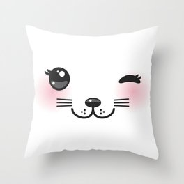 Kawaii funny cat with pink cheeks and winking eyes on white background Throw Pillow