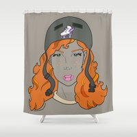 roller derby Shower Curtains featuring Girls of Summer - Roller Derby by Kenneth Shinabery