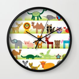 Set of funny cartoon animals character on white background Wall Clock