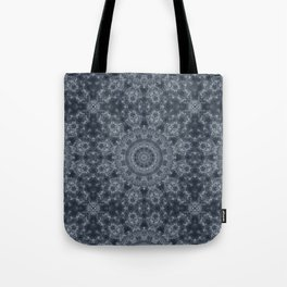 Gray - blue marble kaleidoscope, ornament elements print Tote Bag