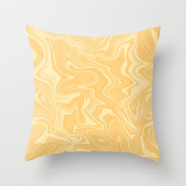 Yellow Liquid Marble Throw Pillow