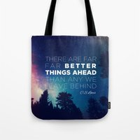 "pocketfuel Tote Bags featuring CS Lewis ""Better Things Ahead"" by Pocket Fuel"