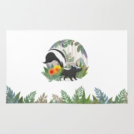 Skunk in the forest Rug