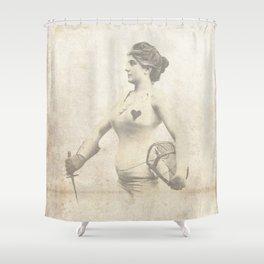Vintage Woman Portrait - Early 1900's Jouist Female - Antique Woman Print Sepia Shower Curtain