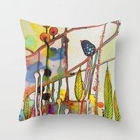 child Throw Pillows featuring the child by sylvie demers