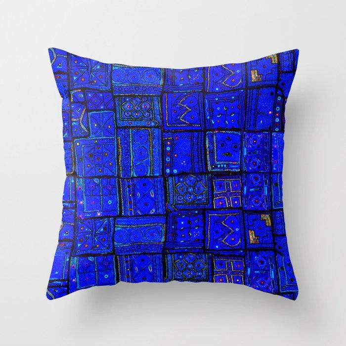 N17 - Calm Indigo Blue Boho Traditional Moroccan Artwork Throw Pillow