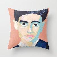 kafka Throw Pillows featuring Franz Kafka by Ellen Pater