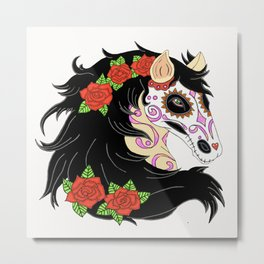 Sugar Skull Horse With Red Roses Metal Print