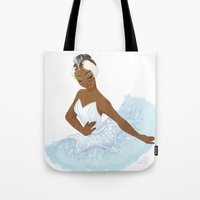 swan queen Tote Bags featuring Swan Queen by Art by MynaBirdy