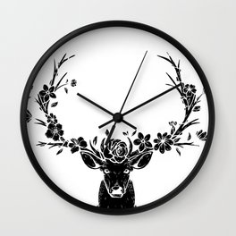 Copy of Flower Rainbow Floral Black Wall Clock