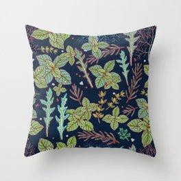dark herbs pattern Throw Pillow