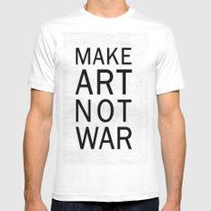 Make Art Not War Mens Fitted Tee MEDIUM White