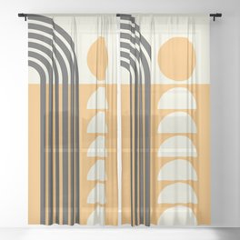 Geometric Lines in Gold and Black 7 (Rainbow and Sunrise Abstract) Sheer Curtain
