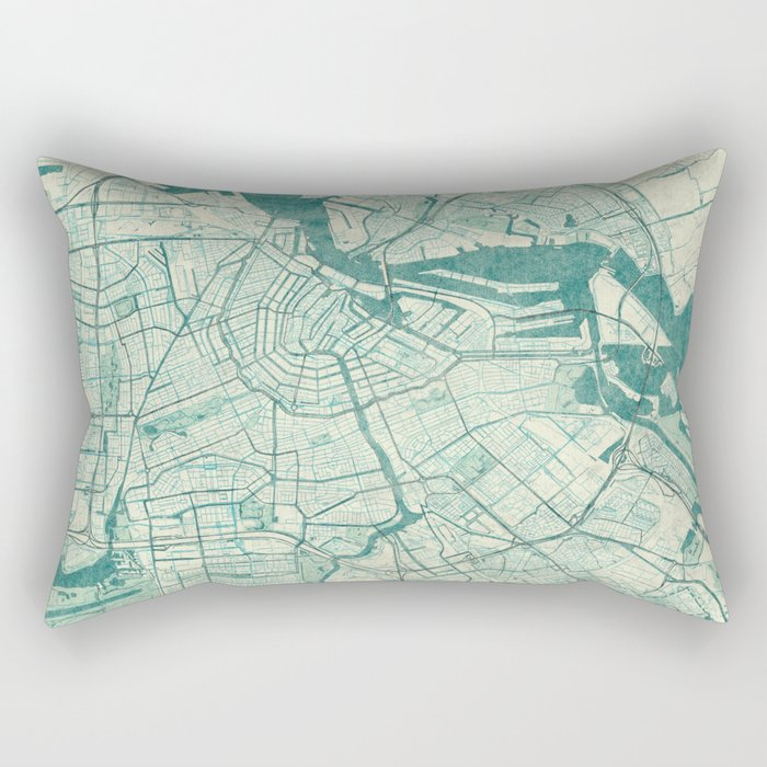 Amsterdam Map Blue Vintage Rectangular Pillow