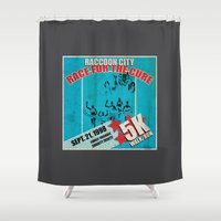 the cure Shower Curtains featuring Race for the Cure: Run, Save Yourself by The Cracked Dispensary