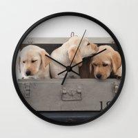 labrador Wall Clocks featuring Labrador Puppy by Diandra