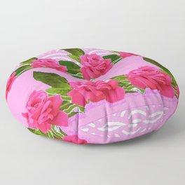 CERISE PINK GARDEN ROSES PATTERN ABSTRACT ART Floor Pillow