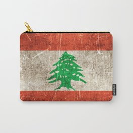 Vintage Aged and Scratched Lebanese Flag Carry-All Pouch