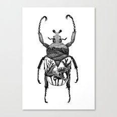Beetle with Flowers inside Canvas Print