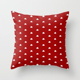 Red background with small white clouds pattern Throw Pillow