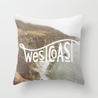 west coast Throw Pillows featuring West Coast by cabin supply co