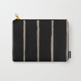 Skinny Strokes Gapped Vertical Nude on Black Carry-All Pouch