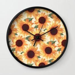 Happy Orange Sunflowers Wall Clock