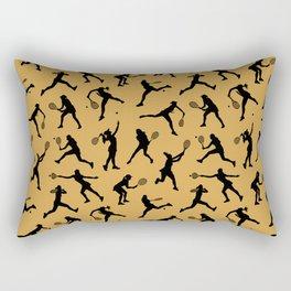 Tennis Players // Mustard Rectangular Pillow