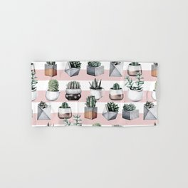 Potted Cactus Stripes Pink Rose Gold Hand & Bath Towel