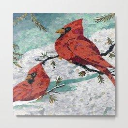 Cardinals In Winter Metal Print