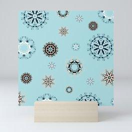 Blue Mandala, Pattern, Digital Design, Shapes Mini Art Print