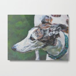 Greyhound dog art portrait from an original painting by L.A.Shepard Metal Print