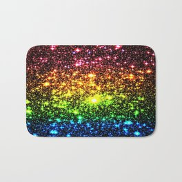Rainbow Sparkle Galaxy Stars Bath Mat