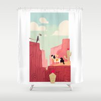 cowboy Shower Curtains featuring Little cowboy  by Orelly