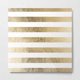 Elegant stylish trendy faux gold modern stripe Metal Print